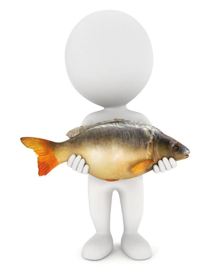 les gens 3d blancs ont pêché un poisson de carpe illustration de vecteur