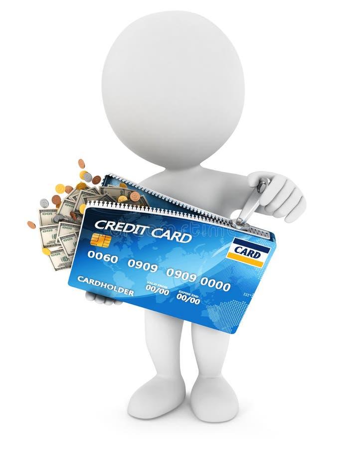 les gens 3d blancs ouvrent un par la carte de crédit illustration libre de droits