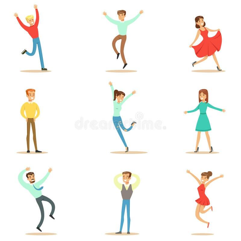 Les gens accablés du bonheur et de l'ensemble joyeux enthousiaste de personnages de dessin animé de sourire heureux illustration stock