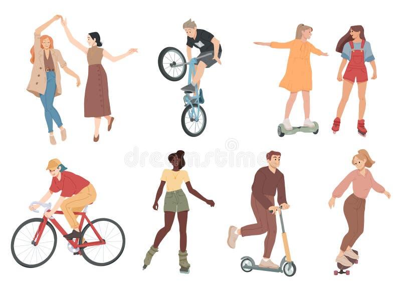 Les gens Activit?s d'ext?rieur d'?t? Marchant, dansant, bicyclette de monte, jeu, faisant de la planche à roulettes illustration de vecteur