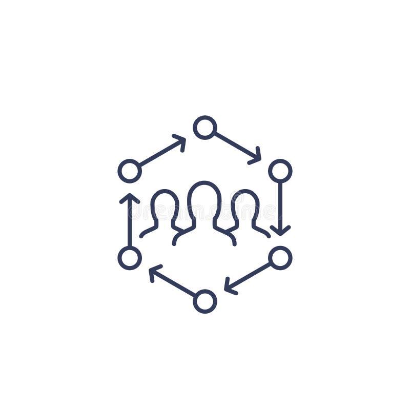 Les gens agissant l'un sur l'autre, ligne icône illustration de vecteur