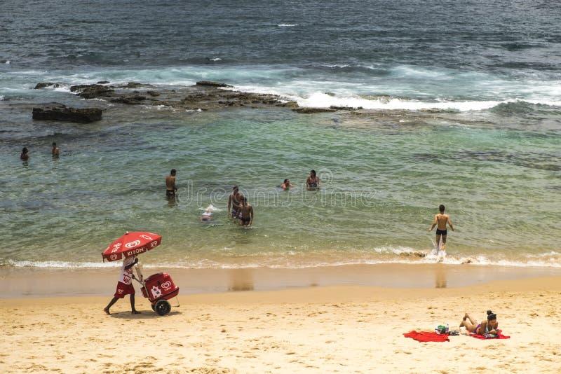 Les gens appréciant la plage de Farol de Barra photo stock