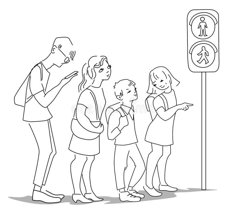 Les gens attendant l'autobus à l'arrêt d'autobus dans la ville dans la conception plate illustration de vecteur