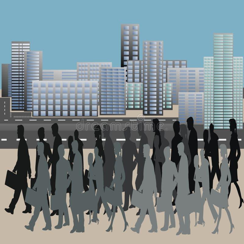 Les gens au centre de la ville illustration libre de droits
