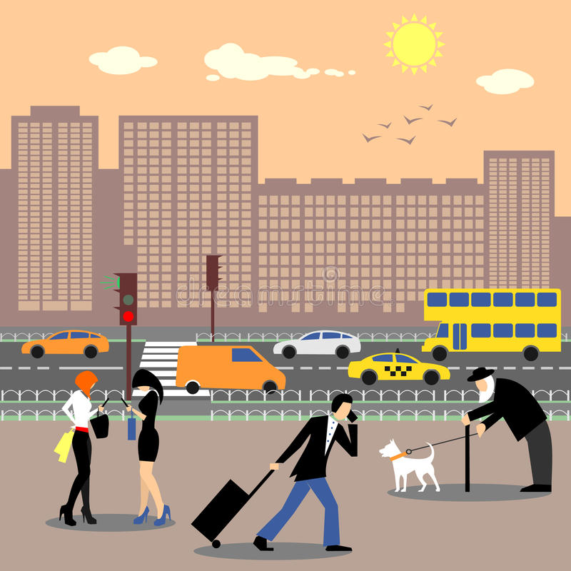 Les gens au centre de la ville Le trafic occupé et gratte-ciel illustration libre de droits