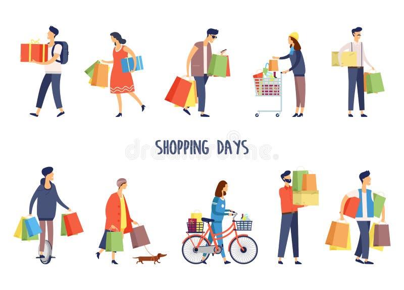 Les gens au supermarché faisant des achats Homme et femme illustration de vecteur