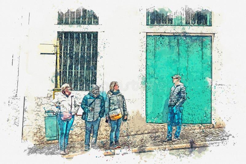 Les gens au transport de attente d'arrêt d'autobus La vie de ville ordinaire illustration libre de droits