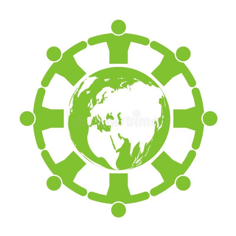 Les gens autour de l'écologie Les villes vertes aident le monde avec des idées qui respecte l'environnement de concept Illustrati illustration libre de droits