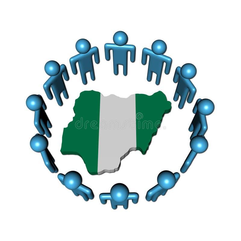 Les gens autour de l'indicateur de carte du Nigéria illustration de vecteur