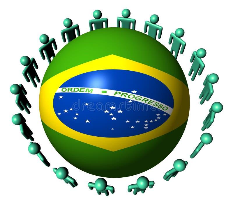 Les gens autour de la sphère brésilienne d'indicateur illustration libre de droits
