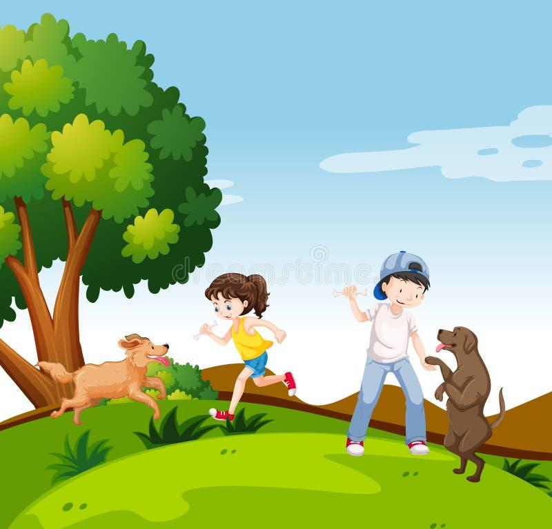 Les gens avec des chiens en parc illustration de vecteur