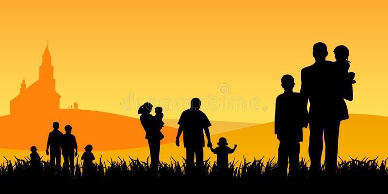 Les gens avec des enfants allant à l'église illustration de vecteur