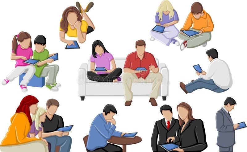 Les gens avec des tablettes illustration stock