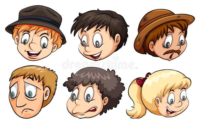 Les gens avec différentes émotions illustration stock