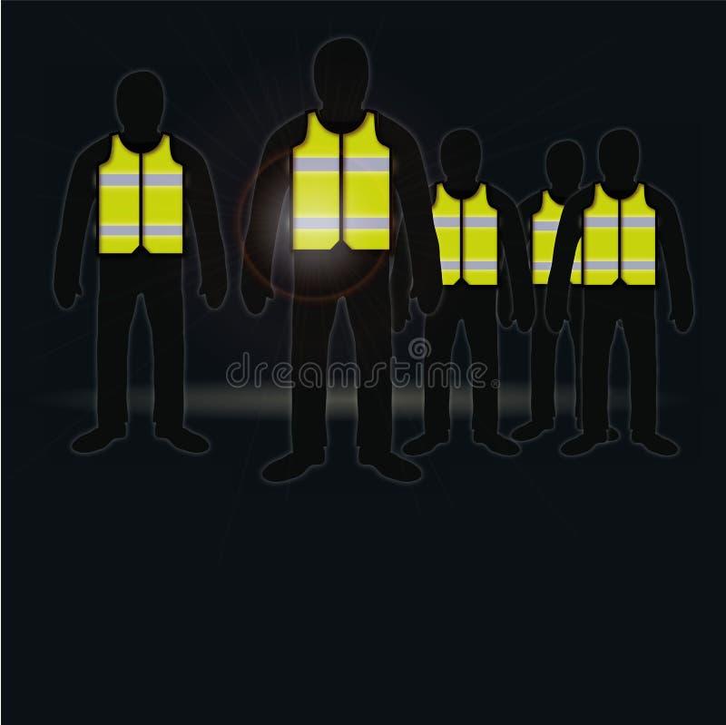 Les gens avec les gilets jaunes illustration de vecteur