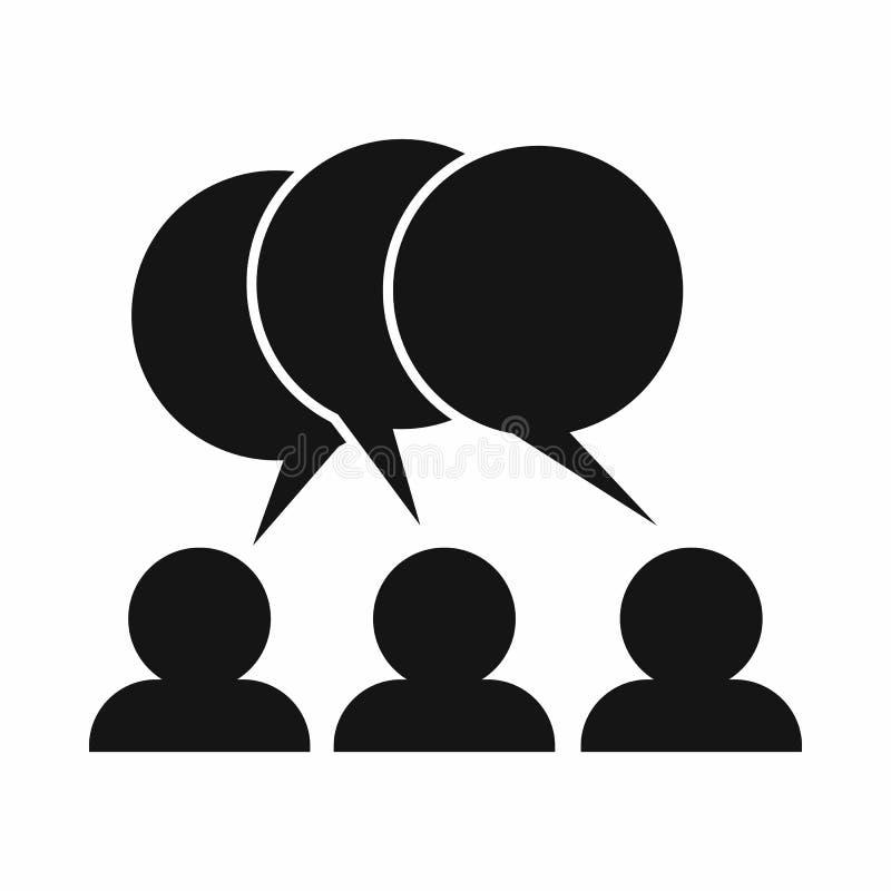 Les gens avec l'icône de bulles de la parole de dialogue illustration stock