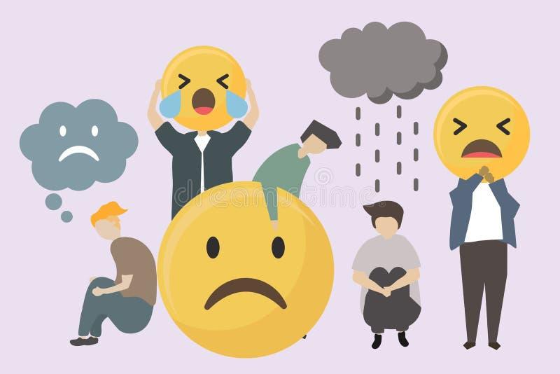 Les gens avec l'illustration triste et fâchée d'emojis illustration de vecteur