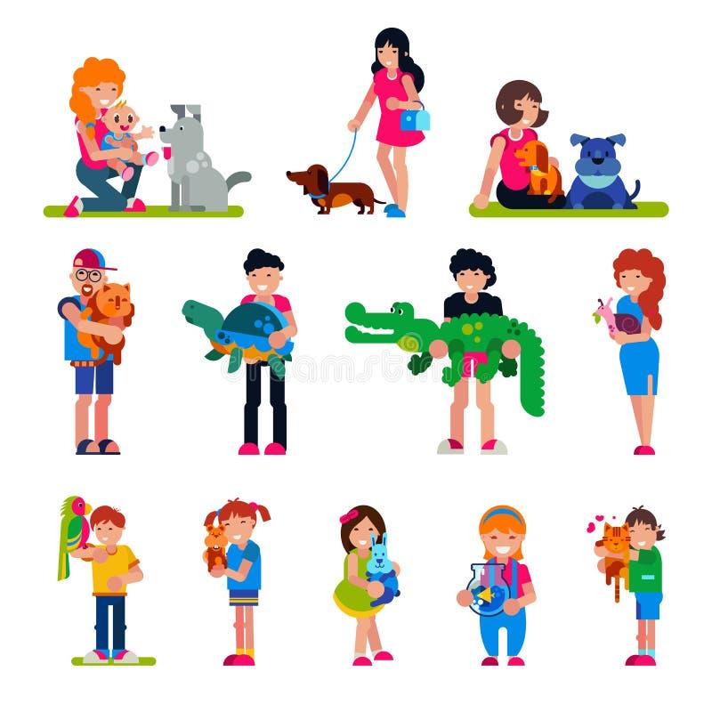 Les gens avec la femme de vecteur d'animal familier ou l'homme et les enfants jouant ou étreignant avec l'illustration animale de illustration de vecteur
