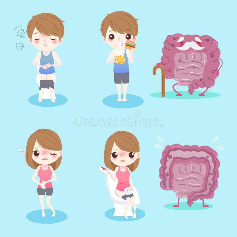 Les gens avec la santé d'intestin illustration de vecteur