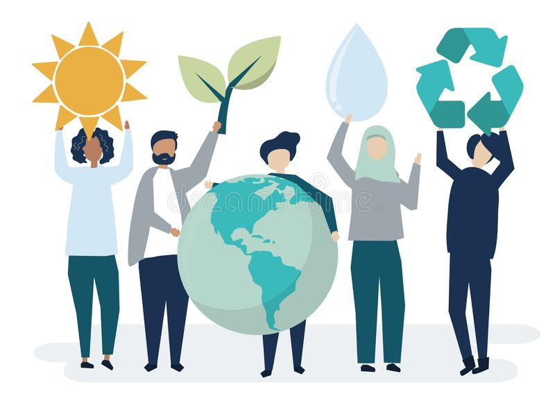 Les gens avec le concept environnemental de durabilité illustration libre de droits