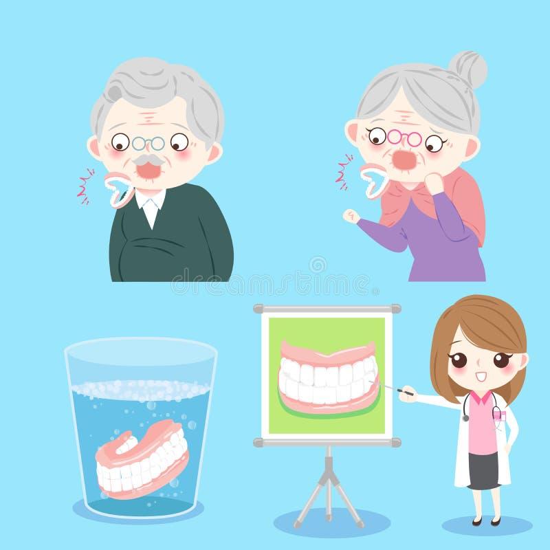 Les gens avec le dentier nettoient illustration stock