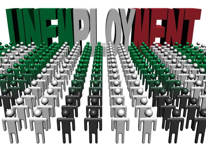 Les gens avec le texte italien d'indicateur du chômage illustration stock