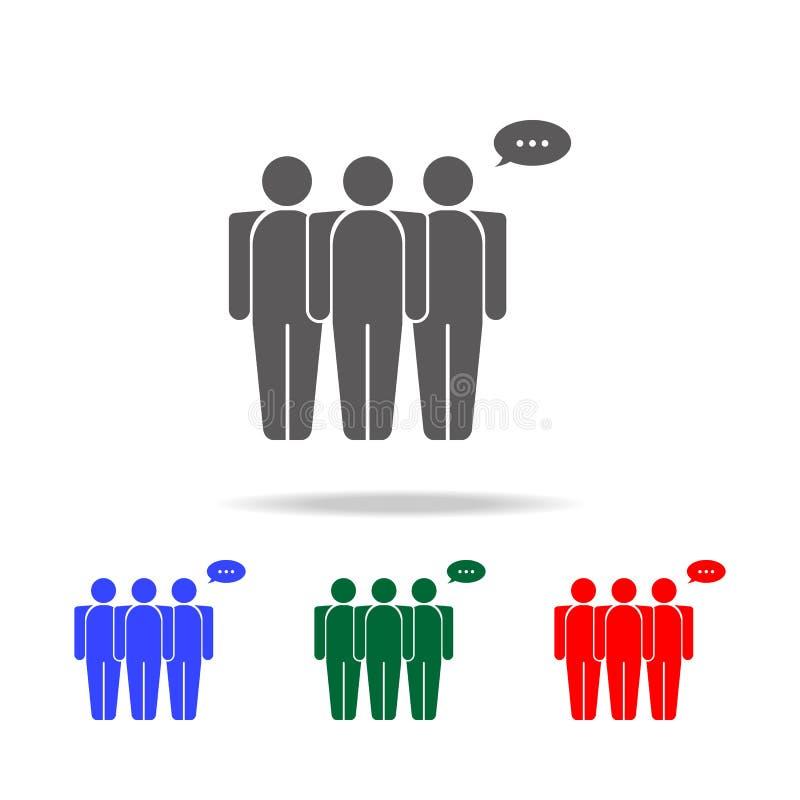 les gens avec une icône de bulle de communication Éléments de conversation dans les icônes colorées multi Icône de la meilleure q illustration stock