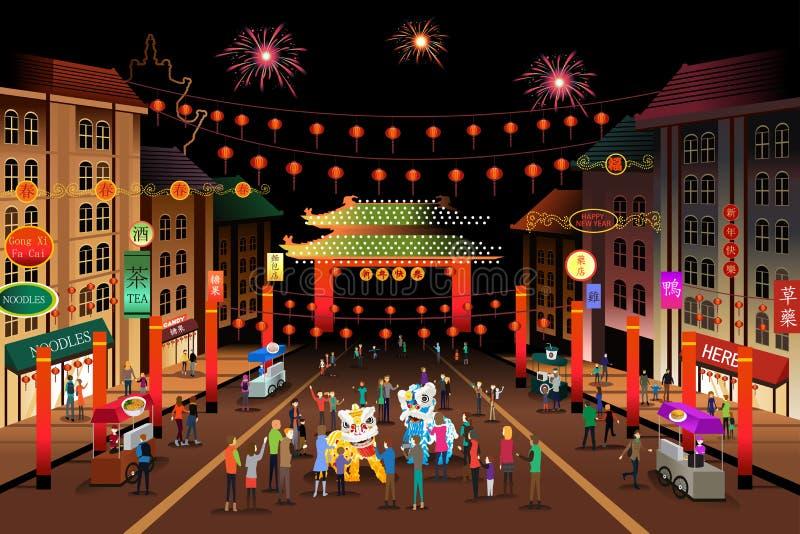 Les gens célébrant la nouvelle année chinoise illustration libre de droits