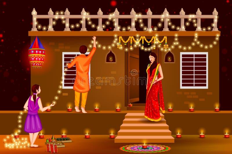 Les gens célébrant le fond heureux d'Inde de vacances de Diwali illustration stock
