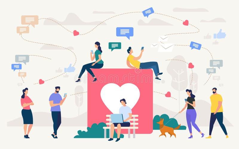 Les gens causant dans le concept social de vecteur de réseau illustration libre de droits