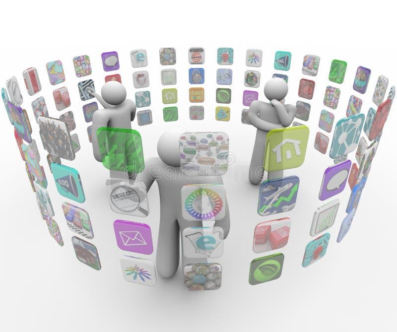 Les gens choisissent Apps sur les murs projetés d'écran tactile illustration stock