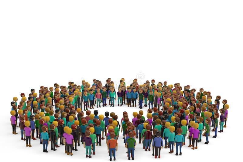 Les gens comme cercle d'isolement sur le fond blanc illustration 3D illustration libre de droits
