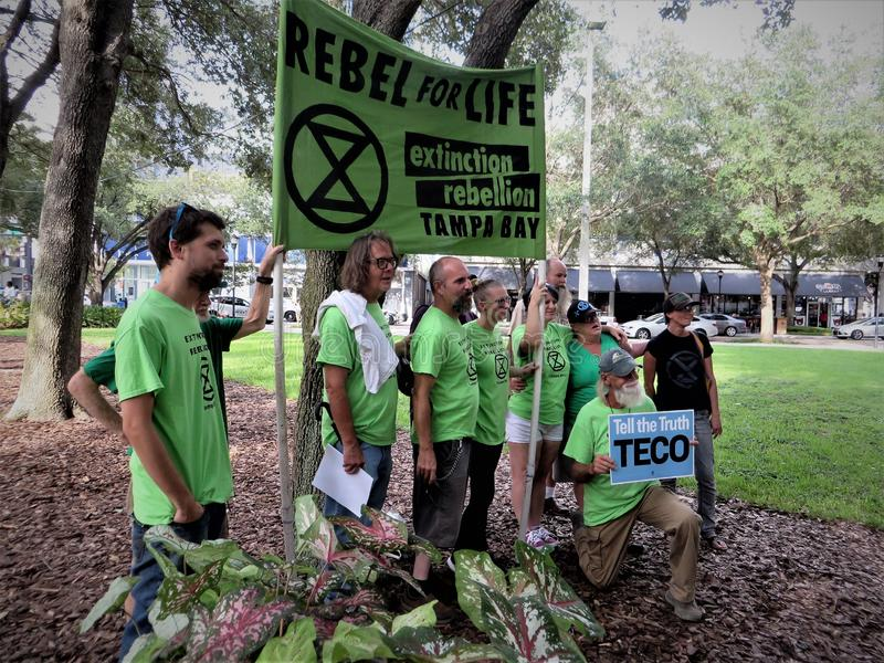 Les gens contre la protestation de TECO, Tampa, la Floride images stock