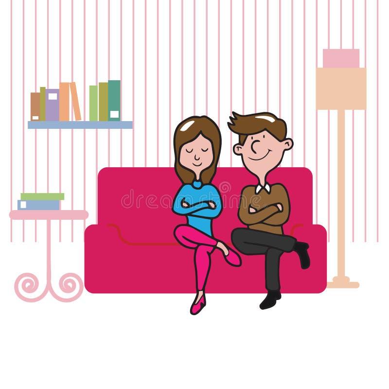 Les gens couplent se reposer dans le salon illustration stock