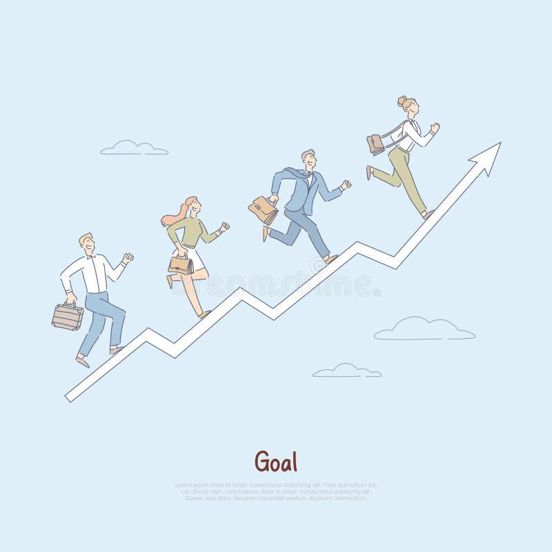 Les gens courant la flèche de progrès, voyage vers réaliser le succès, travail d'équipe dans le lieu de travail, métaphore de per illustration libre de droits