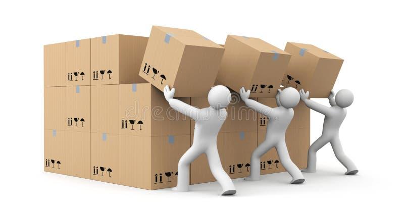 Les gens déchargent un groupe de boîtes La livraison de colis illustration de vecteur