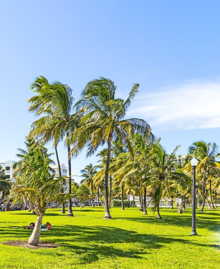 Les gens détendant chez beau Miami Beach photos stock