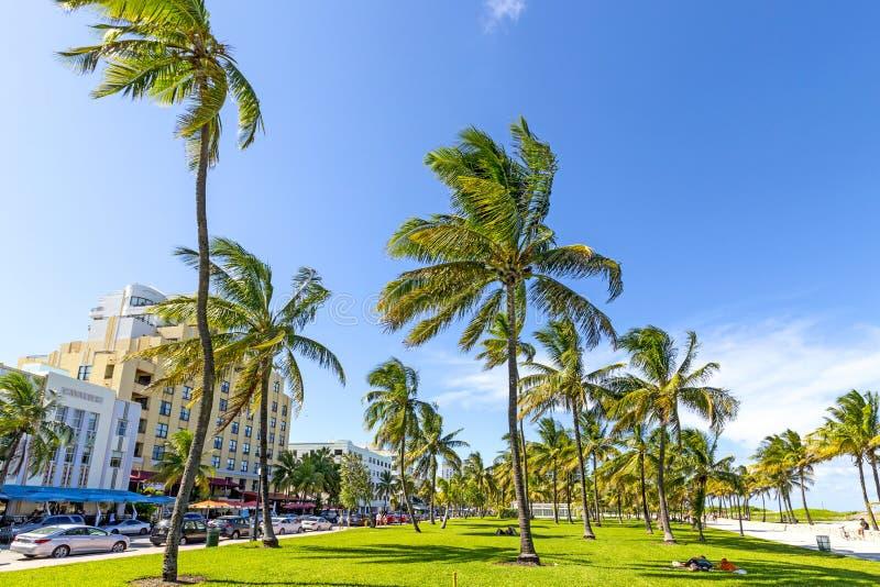 Les gens détendant chez beau Miami Beach images libres de droits