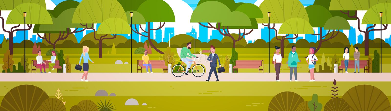 Les gens détendant dans la bicyclette de marche d'équitation de beau parc urbain et la bannière horizontale de communication illustration stock