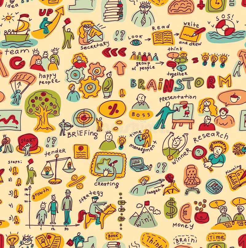 Les gens d'affaires créatifs colorent les objets et le modèle sans couture d'icônes illustration libre de droits