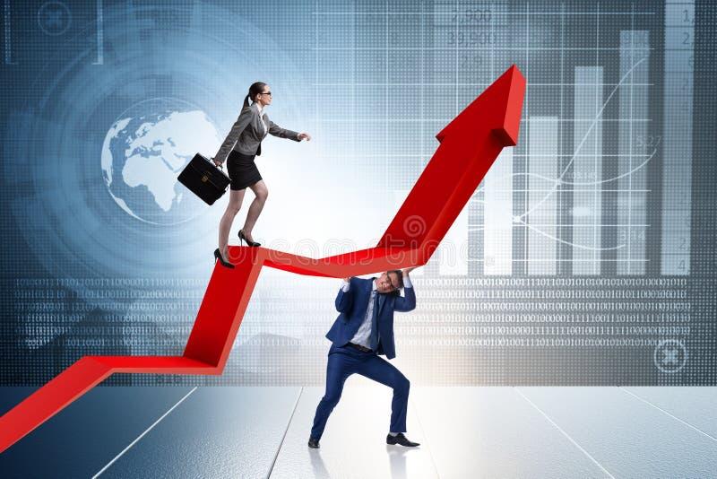 Les gens d'affaires dans le concept d'affaires de reprise économique photos stock