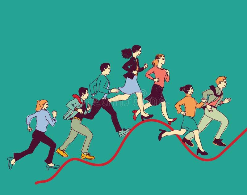 Les gens d'affaires de graphique de course courbent la ligne rouge illustration de vecteur