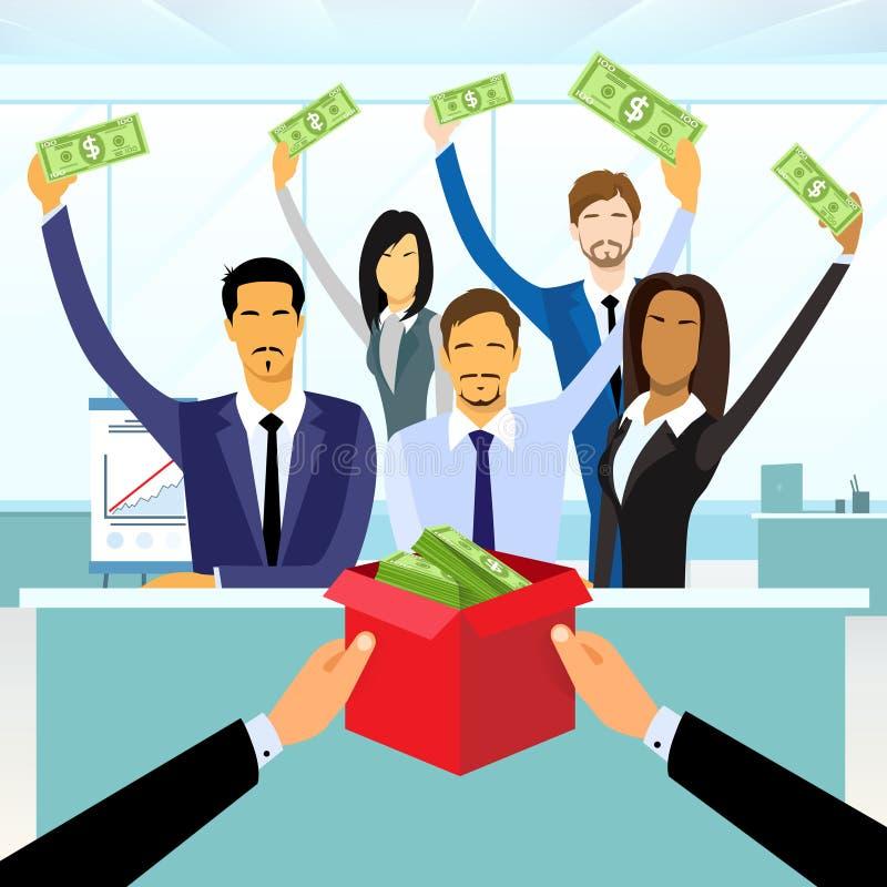 Les gens d'affaires de groupe de placement de foule ont mis l'argent illustration libre de droits