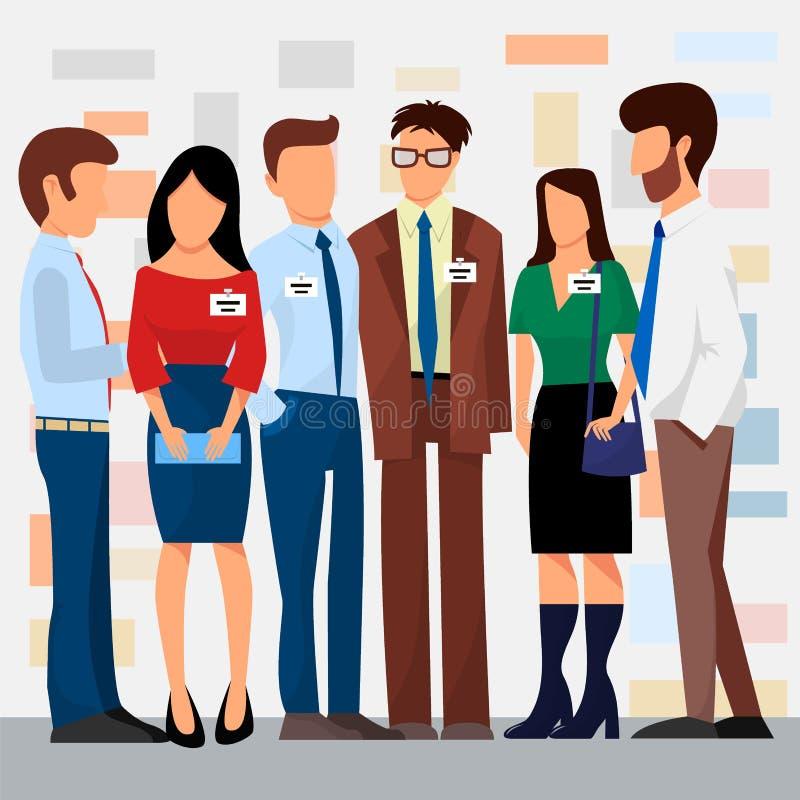 Les gens d'affaires de vecteur de présentation de groupes aux caractères de réunion de travail d'équipe de conferense d'investiss illustration libre de droits