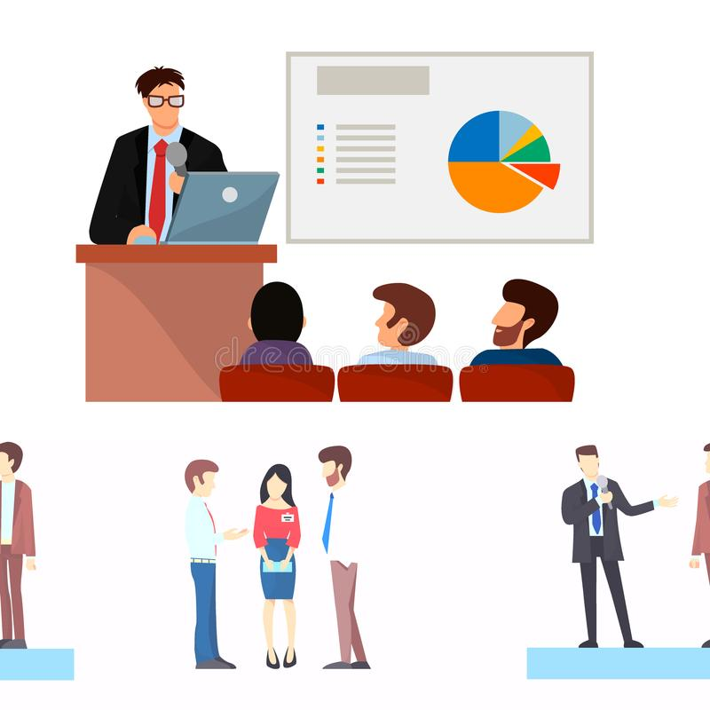 Les gens d'affaires de vecteur de présentation de groupes aux caractères de réunion de travail d'équipe de conferense d'investiss illustration de vecteur
