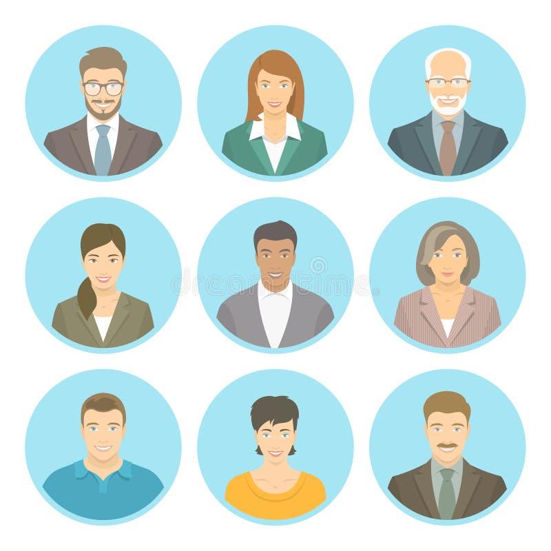 Les gens d'affaires dirigent les avatars plats masculins et femelles illustration de vecteur