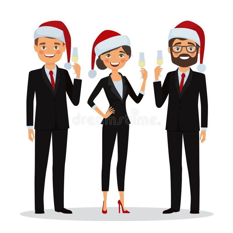 Les gens d'affaires félicitent des vacances de Noël illustration de vecteur