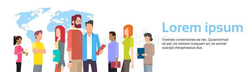 Download Les Gens D'affaires Groupent Au-dessus De La Bannière De Carte Du Monde Avec L'espace De Copie Illustration de Vecteur - Illustration du illustration, fille: 77159034