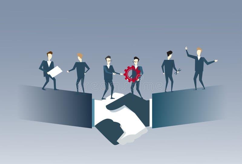 Les gens d'affaires groupent la position sur le concept de coopération de travail d'équipe d'accord d'associés de secousse de mai illustration libre de droits