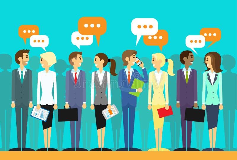 Les gens d'affaires groupent parler discutant la causerie illustration de vecteur